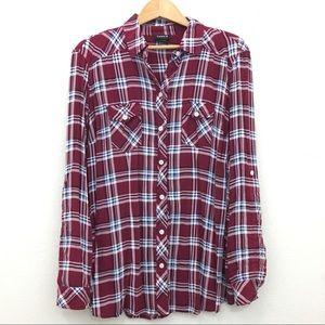 Torrid Challis camp plaid button down shirt red